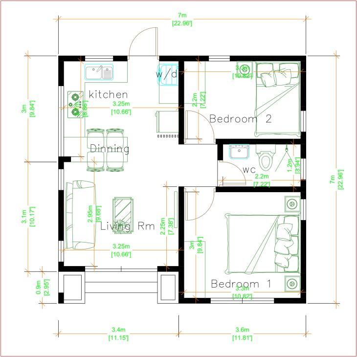House Plans 3dShop7x7