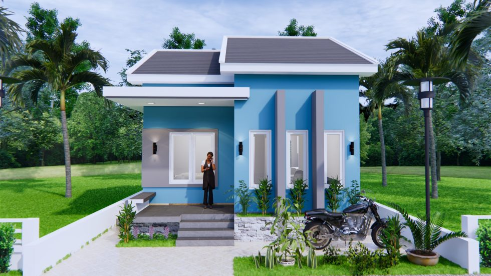 House Plans 6x8 Meter 20x27 Feet 2 Bedrooms Gable Roof