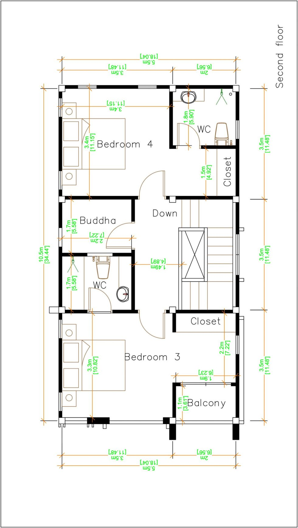 House Plans 5.5x10.5 with 4 bedrooms second floor