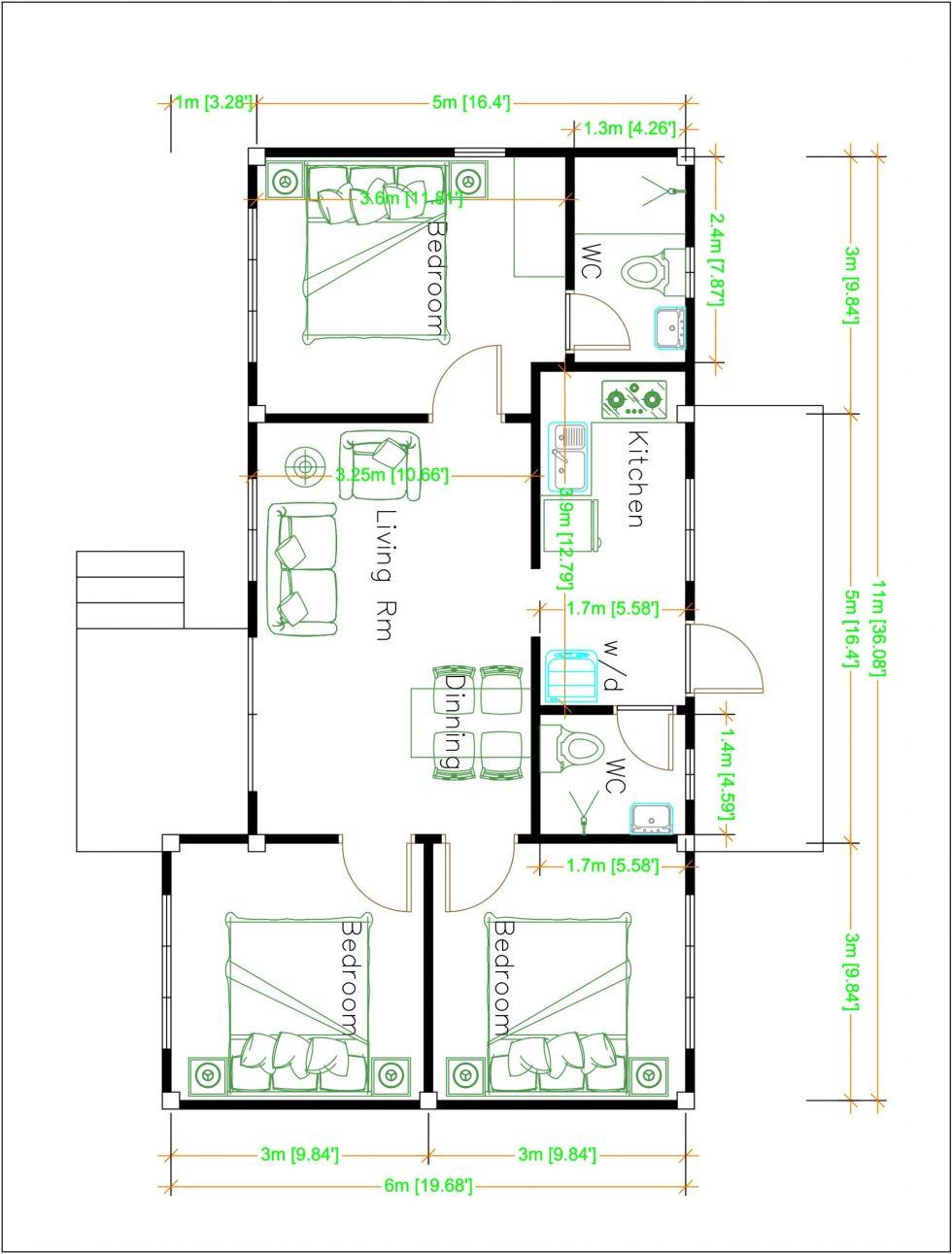 House Design Plans 11x6 Meters 36x20 Feet Hip Roof Samhouseplans,Light Medium Chocolate Brown Hair Color