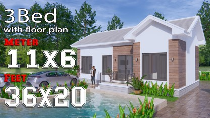 House Design Plans 11x6 Meters 36x20 Feet 3 Bedrooms c1