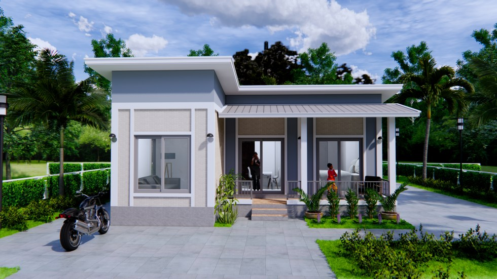 House Plans 9x9 Meters 30x30 Feet 2 Bedrooms Shed Roof 2