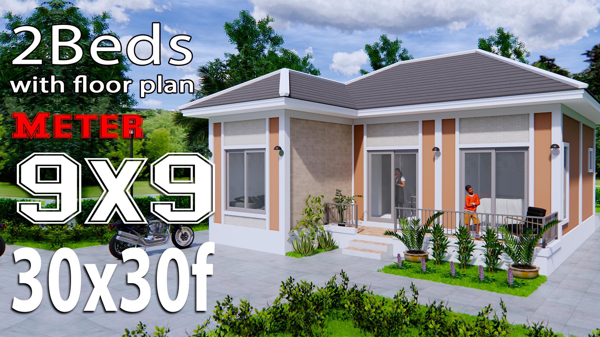 House Plans 9x9 Meters 30x30 Feet Hip Roof Samhouseplans
