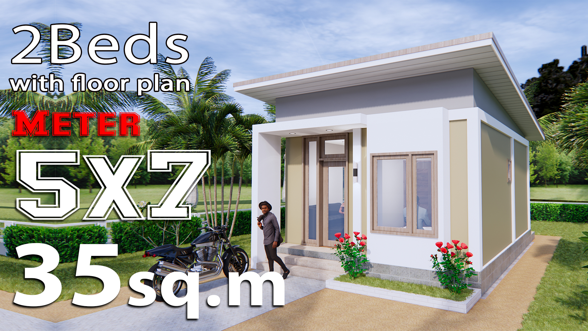 Small House Plans 5x7 Meters 2 Bedrooms Samhouseplans