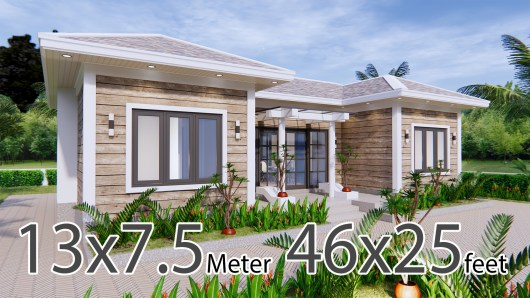 3d House Drawing 13x7.5 Meter 43x25 Feet 3 Beds