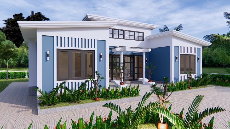 House Plans 13x7.5 Meter 43x25 Feet 3 Beds 2