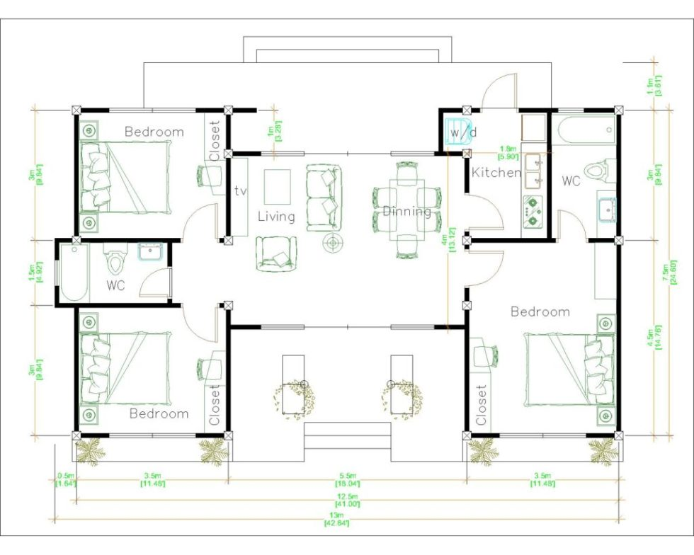 House Plans 13x7.5 Meter 43x25 Feet 3 Beds Layout floor plan