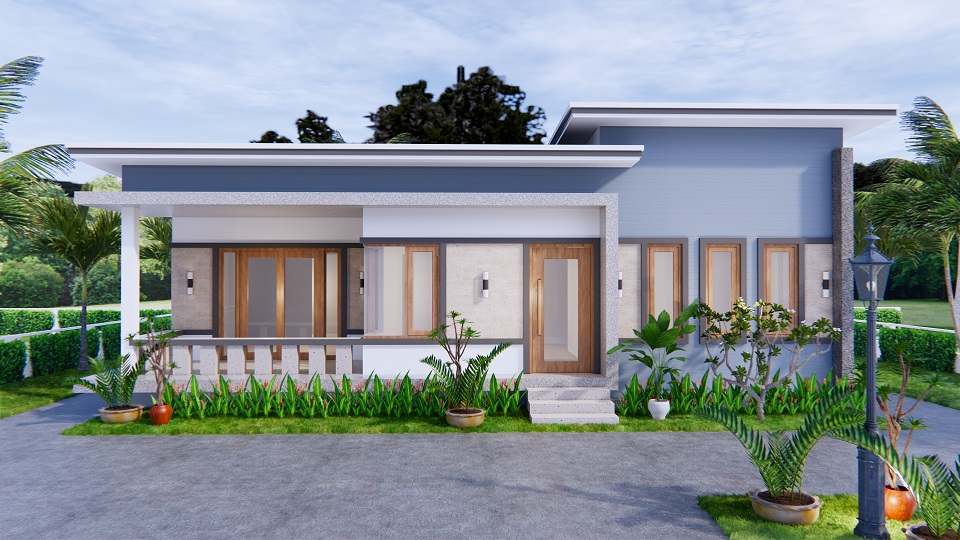 1 Story Modern House 12x12 Meters 40x40 Feet 3 Beds 2