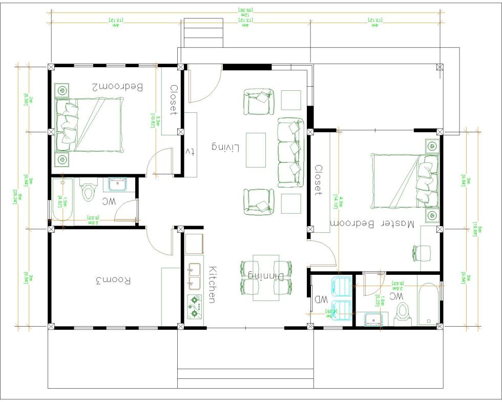 1 Story Modern House 12x12 Meters 40x40 Feet 3 Beds Layout floor plan