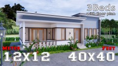1 Story Modern House 12x12 Meters 40x40 Feet 3 Beds