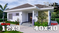3d Floor Plan 12x9 Meter 40x30 Feet 2 Beds