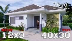 3d Floor Plan 12x9 Meter 40x30 Feet 2 Beds