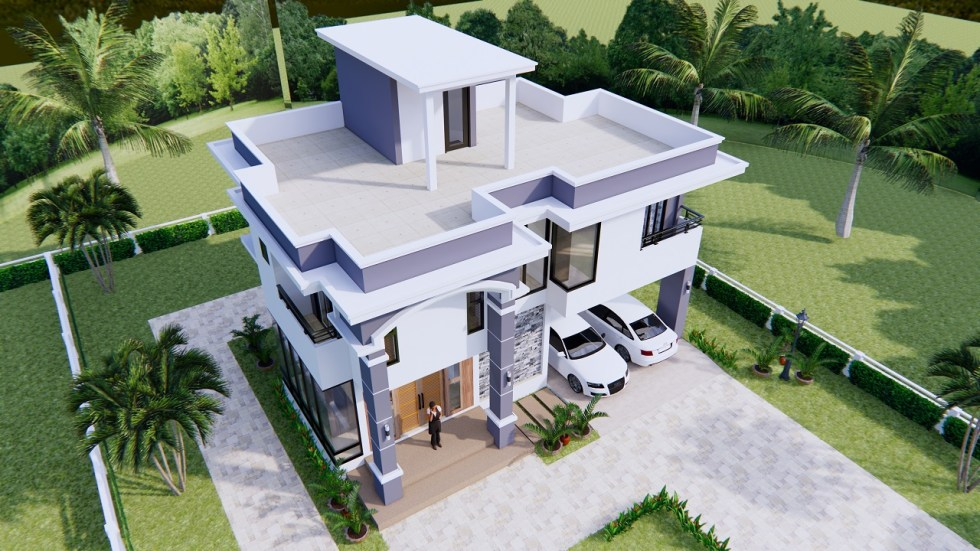 House Design 11x8 Meter 36x26 Feet 3 Beds 7