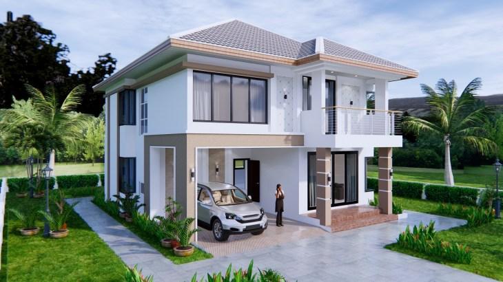 House Design 9x11 Meter 30x36 Feet 4 Beds 9