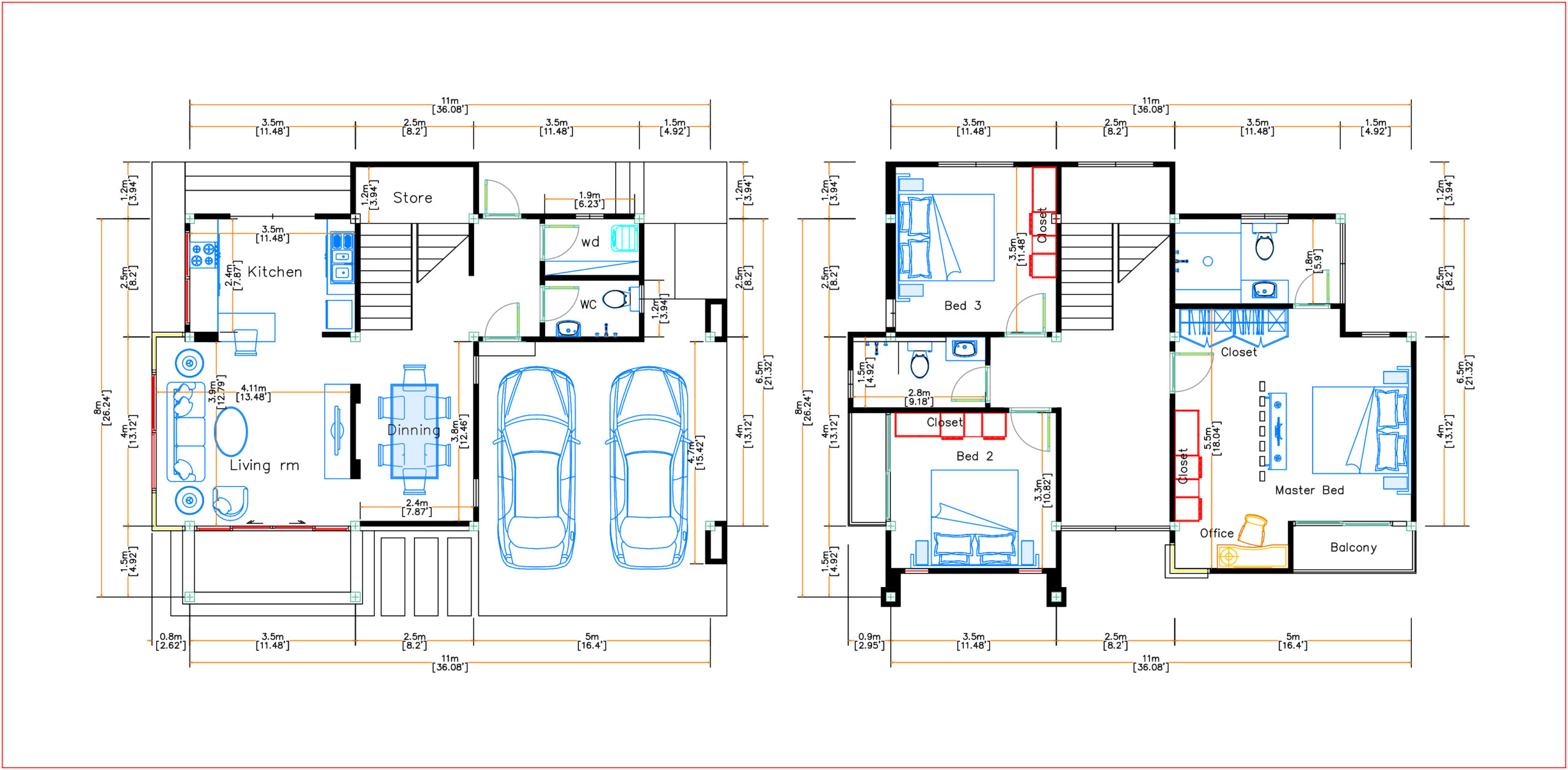 House Plans 11x8 Meter 36x26 Feet 3 Beds layout floor plan