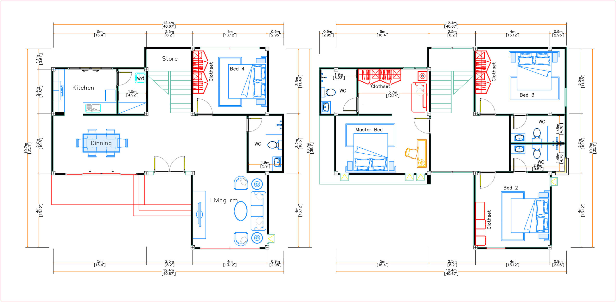 House Plans 12.4x11 Meter 41x35 Feet 4 Beds layout floor plan
