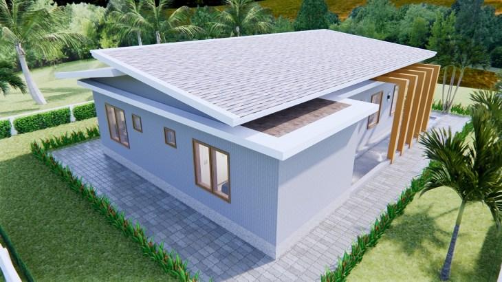 Modern House Design 12x14 Meter 40x46 Feet 2 Beds 5