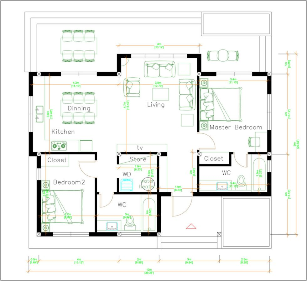 Modern House Drawing 12x9 Meter 40x30 Feet 2 Beds Layout floor plan