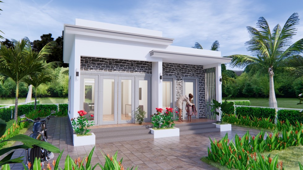 Modern Small House Design 7x7 Meter 23x23 Feet One Bed 1