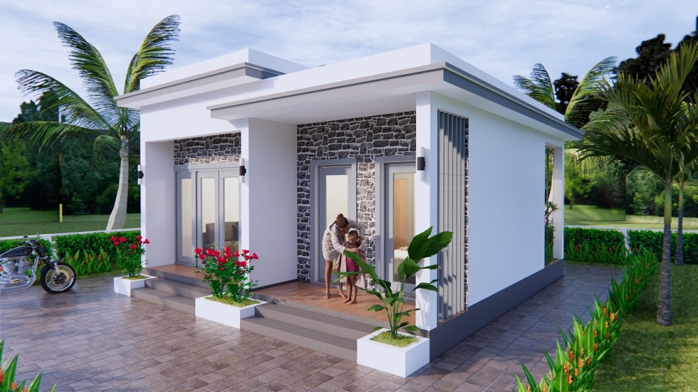 Modern Small House Design 7x7 Meter 23x23 Feet One Bed 3