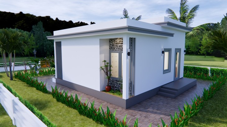 Modern Small House Design 7x7 Meter 23x23 Feet One Bed 5
