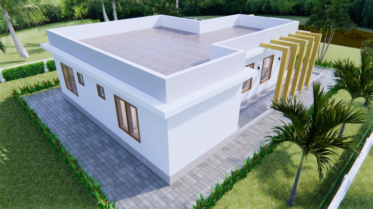New House Design 12x14 Meter 40x46 Feet 2 Beds 8