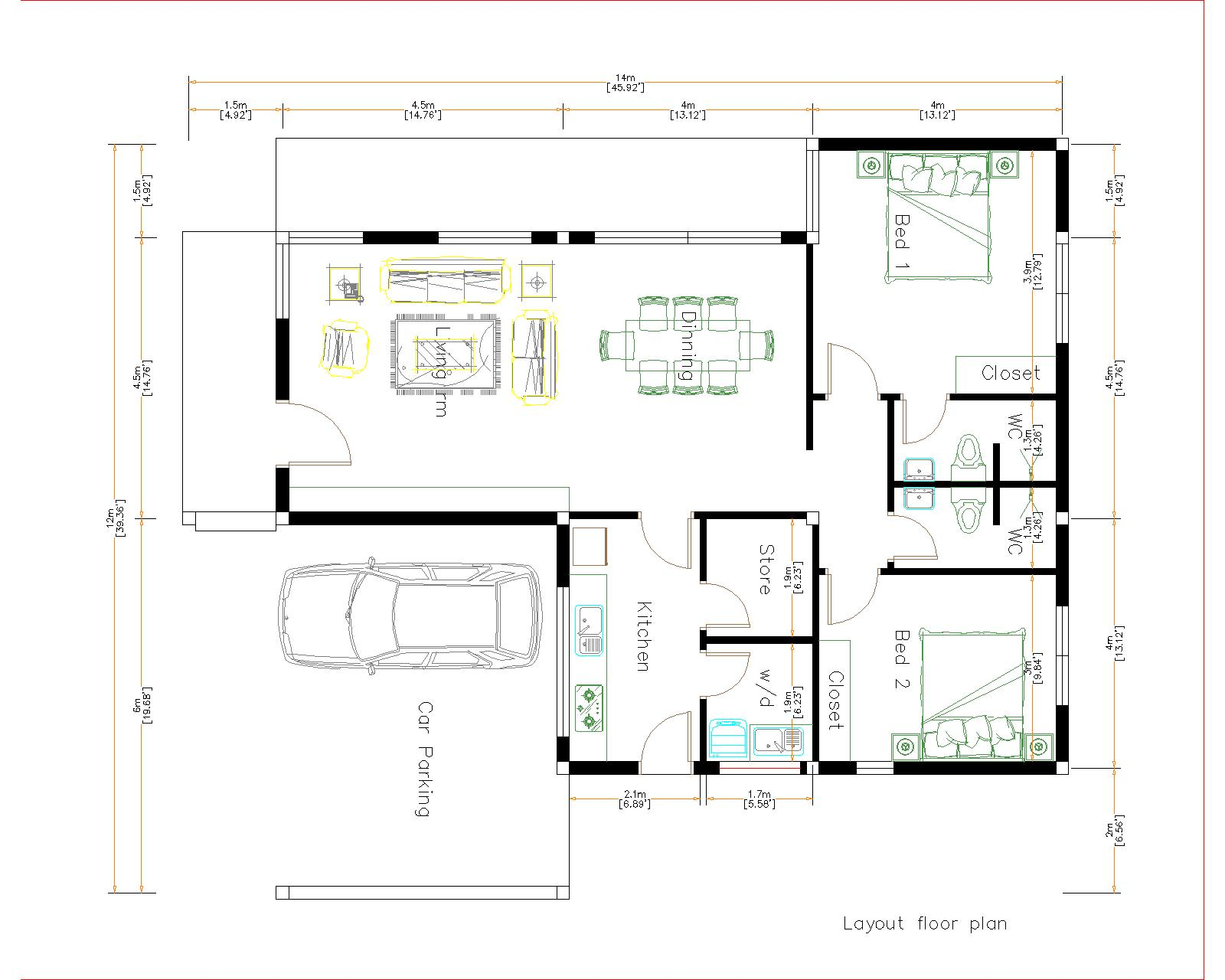 New House Design 12x14 Meter 40x46 Feet 2 Beds House Layout floor plan
