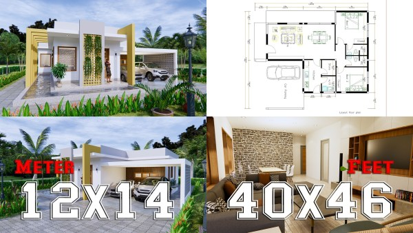 New House Design 12x14 Meter 40x46 Feet 2 Beds