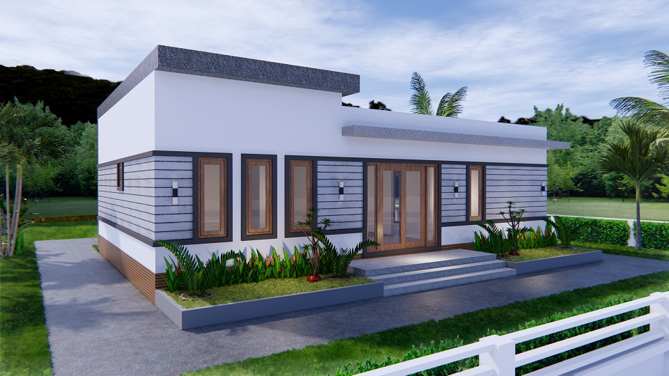 One Level House Plans 12x12 Meters 40x40 Feet 3 Beds 7
