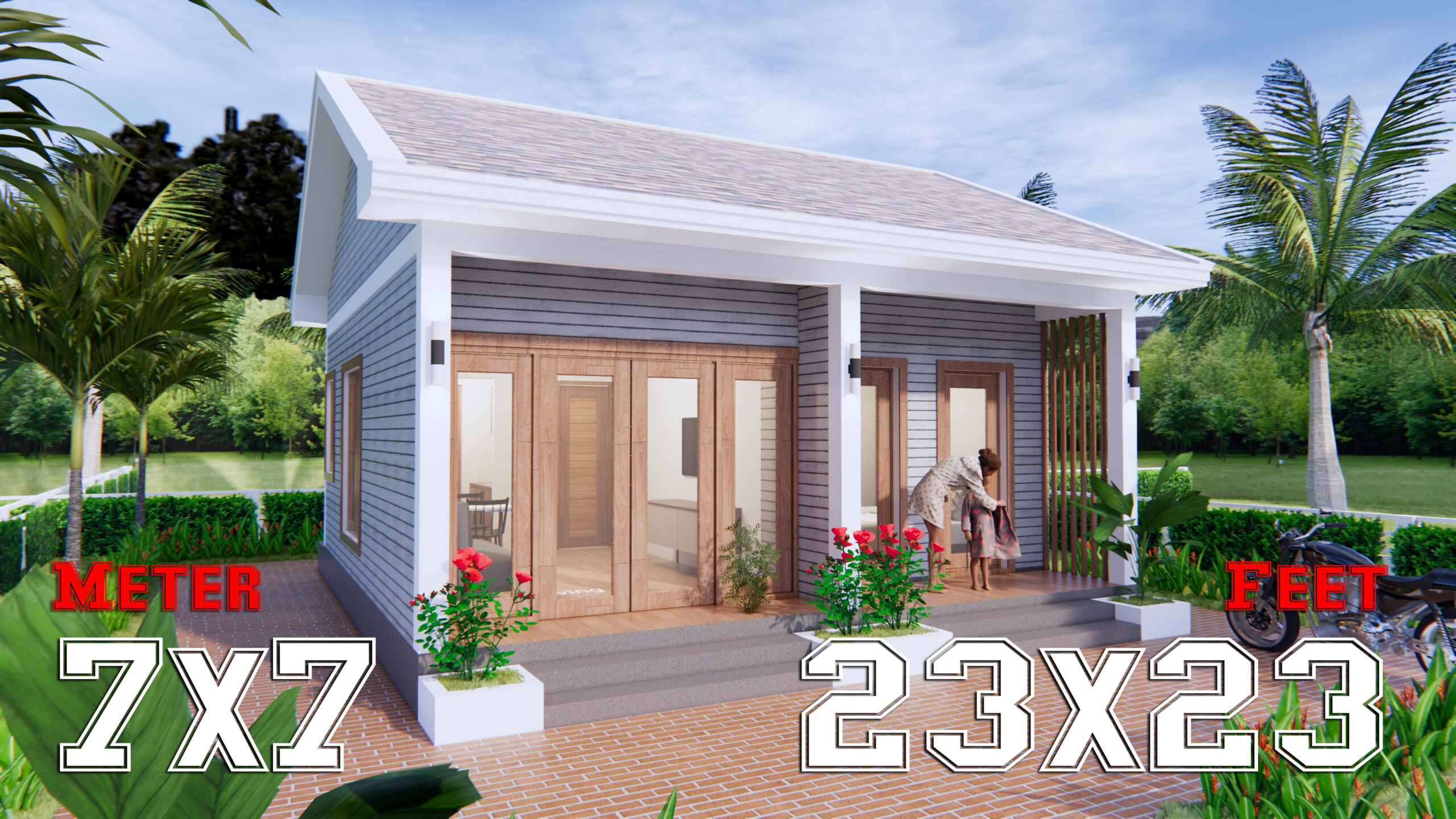 Small House Design 7x7 Meter 23x23 Feet Gable Roof scaled - Get Small New Houses Design Gif