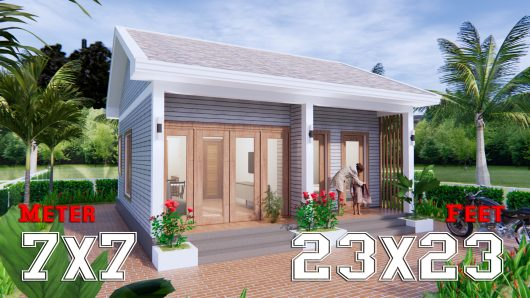 Small House Design 7x7 Meter 23x23 Feet Gable Roof