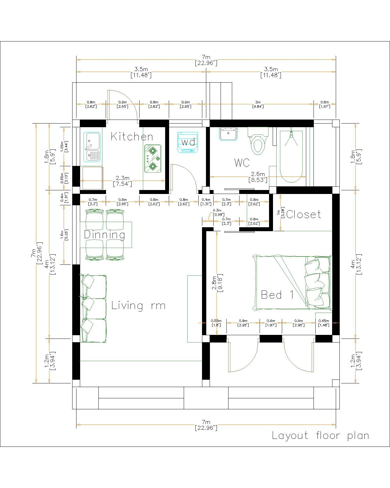 Small Cabin Plans 7x7 Meter 23x23 Feet Shed Roof layout floor plan