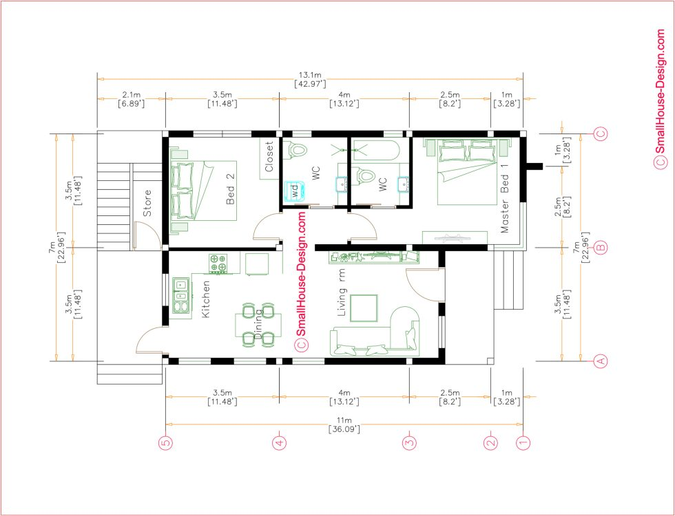 Small House Plans 7x11 Meters 23x36 Feet Terrace Roof Full Plans