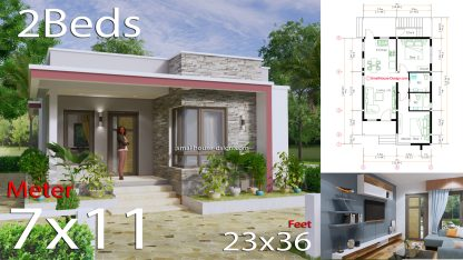 Small House Plans 7x11 Meters 23x36 Feet Terrace Roof