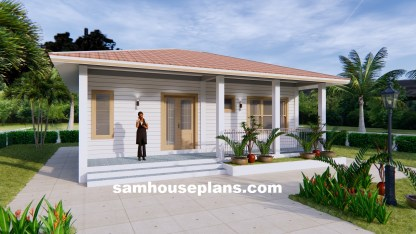 31x26 House Design Plans with One Bedroom Hip roof front 3d