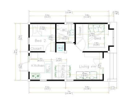 16x23 House Plans 5x7 Meters 2 Bedrooms Full Plans floor plan