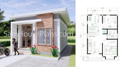 16x23 House Plans 5x7 Meters 2 Bedrooms Full Plans