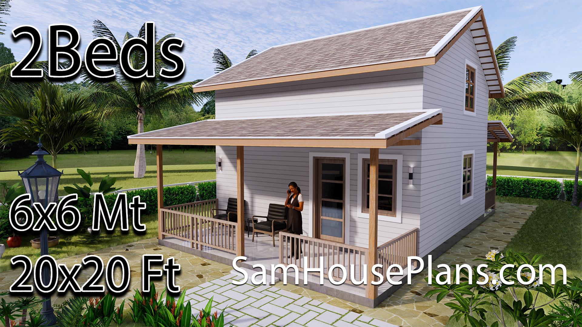 Simple House Plans 6x6 Mt 20x20 Ft Gable Roof Samhouseplans