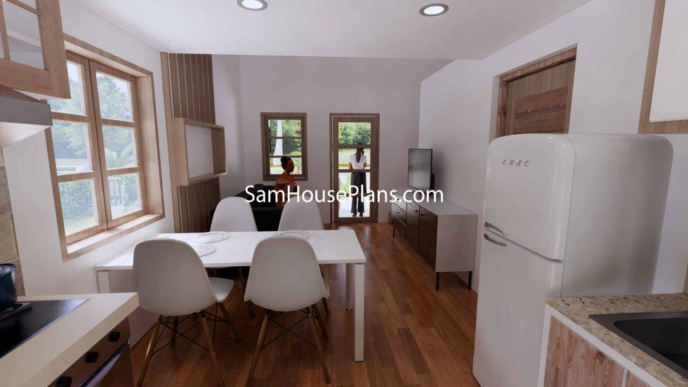 Simple House Design Plans 6x6 Meter 20x20 Feet 3d Living room 2