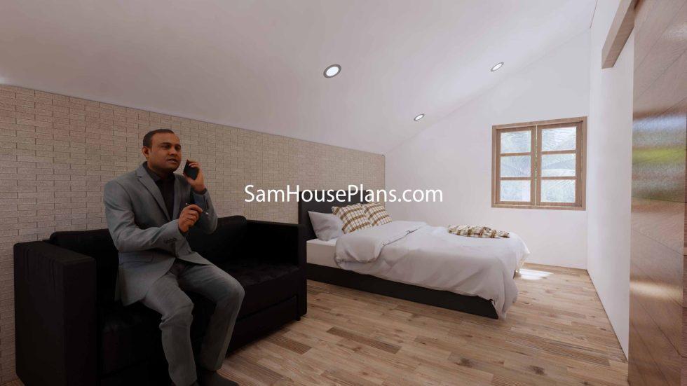 Simple House Design Plans 6x6 Meter 20x20 Feet 3d Master Bedroom 2