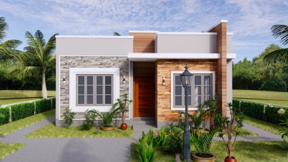Small House Design 8x9 with 2 Bedrooms Terrace Roof 3D Exterior Front