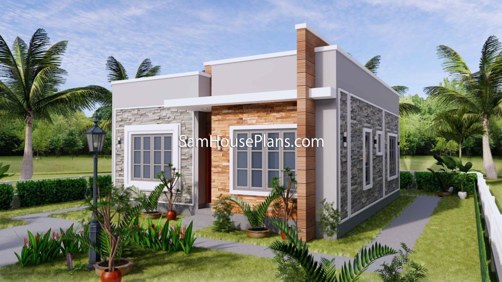 Small House Design 8x9 with 2 Bedrooms Terrace Roof 3D Exterior Right