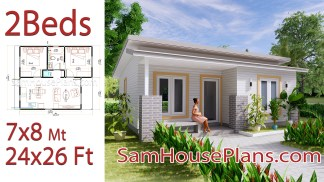 Small House Floor Plans 7x8 Meter 24x26 Feet 2 Bedrooms Full Plans