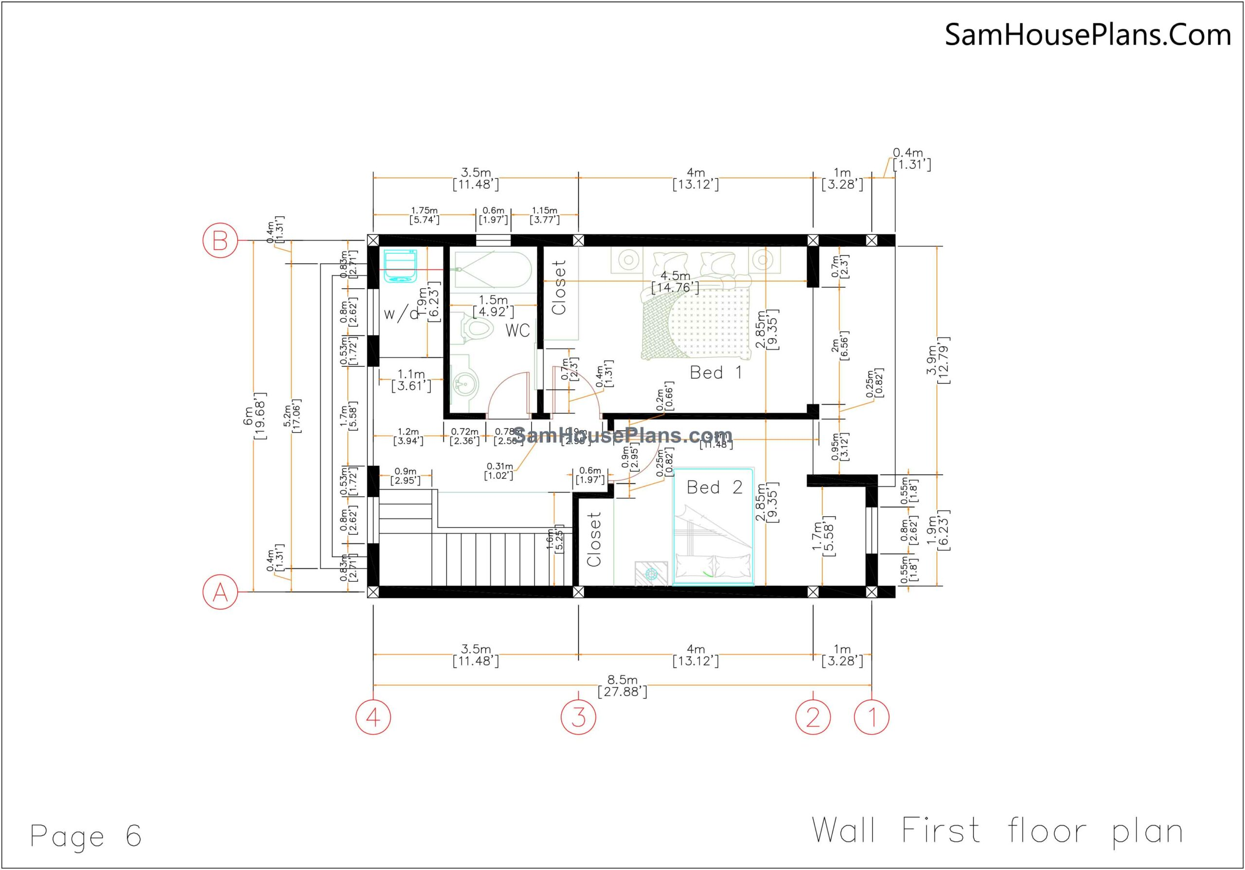 06 Wall First Floor Plan 20x30 Small House Plan 6x8.5m