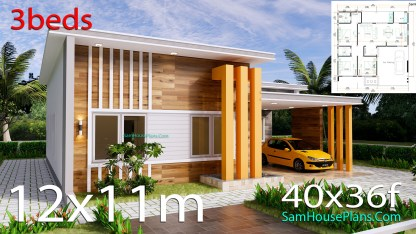 12x11 House Plans 3 Bedrooms 40x36 Feet Terrace Roof