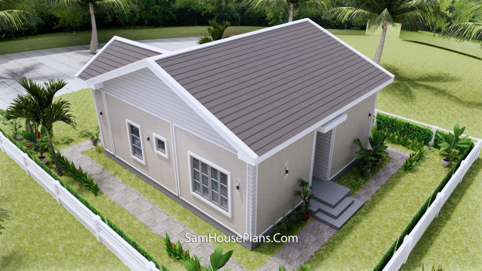 Small House Design 27x30 with 2 Beds Gable Roof 3d 6