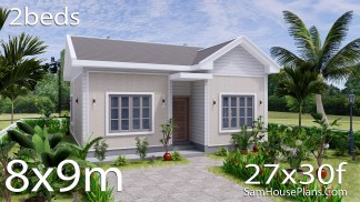 Small House Design 27x30 with 2 Beds Gable Roof