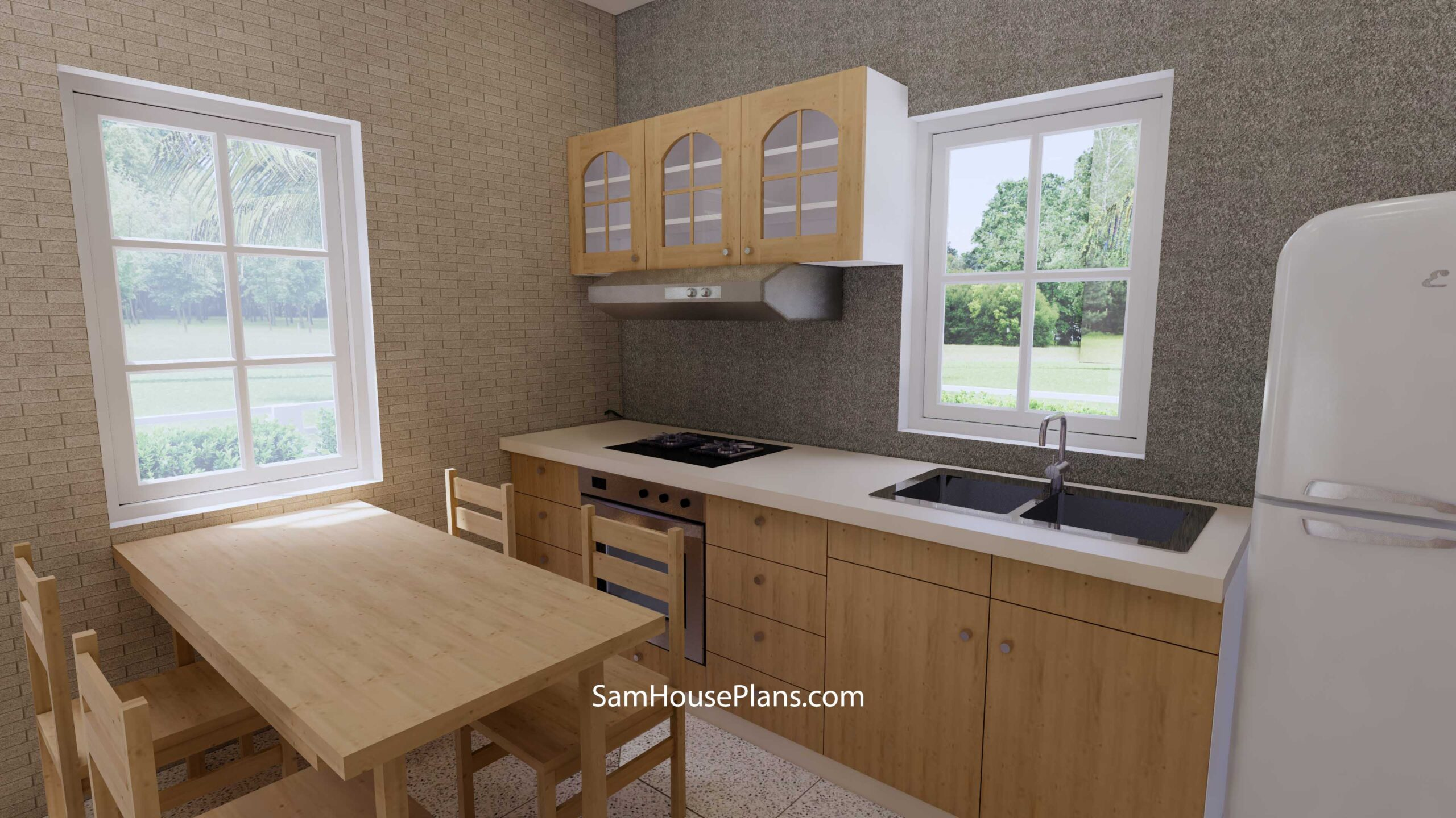 Small House Design 7x7 with 1 Bedrooms Flat Roof Flat Roof Kitchen