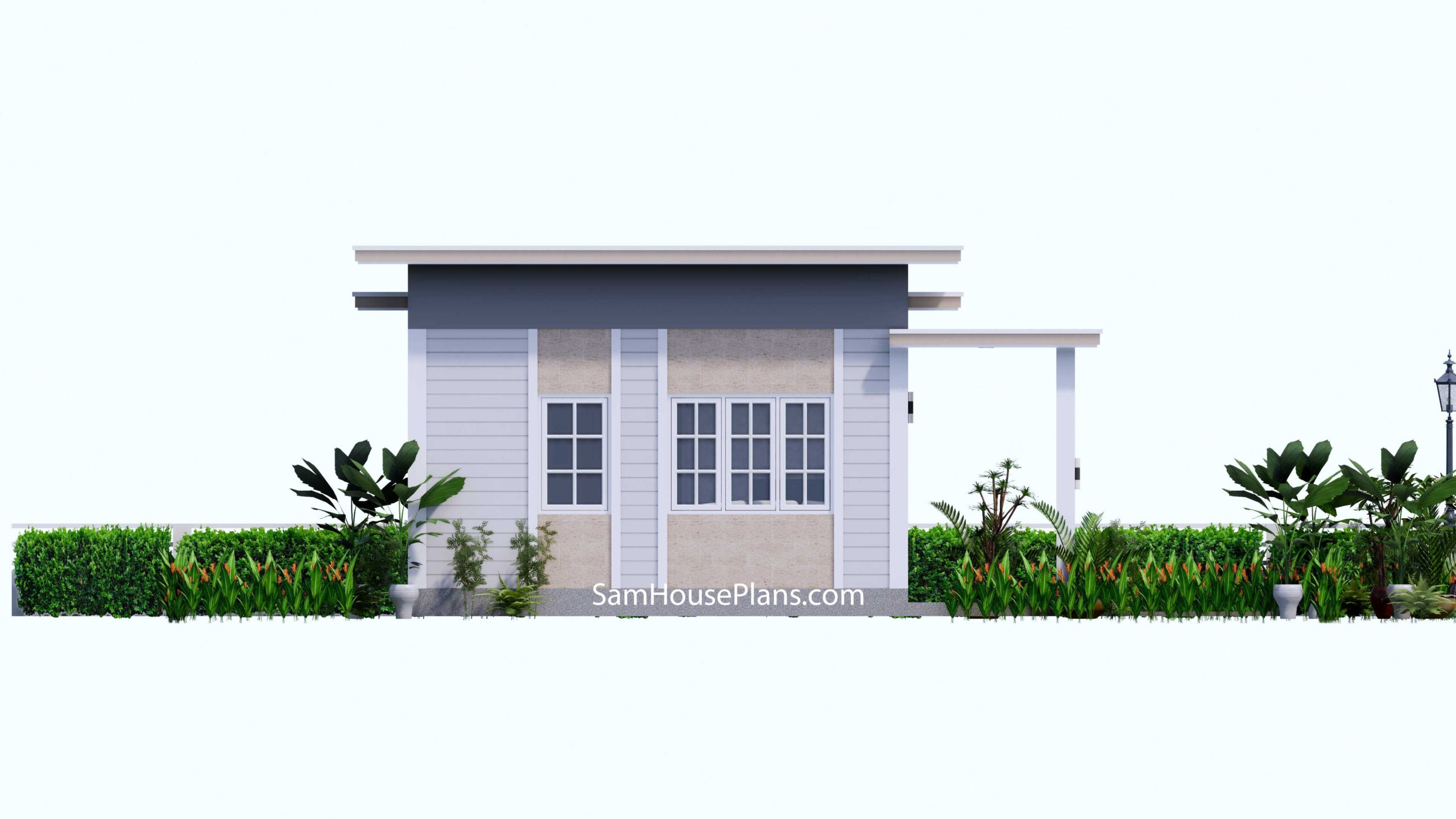 Small House Design 7x7 with 1 Bedrooms Flat Roof Left view