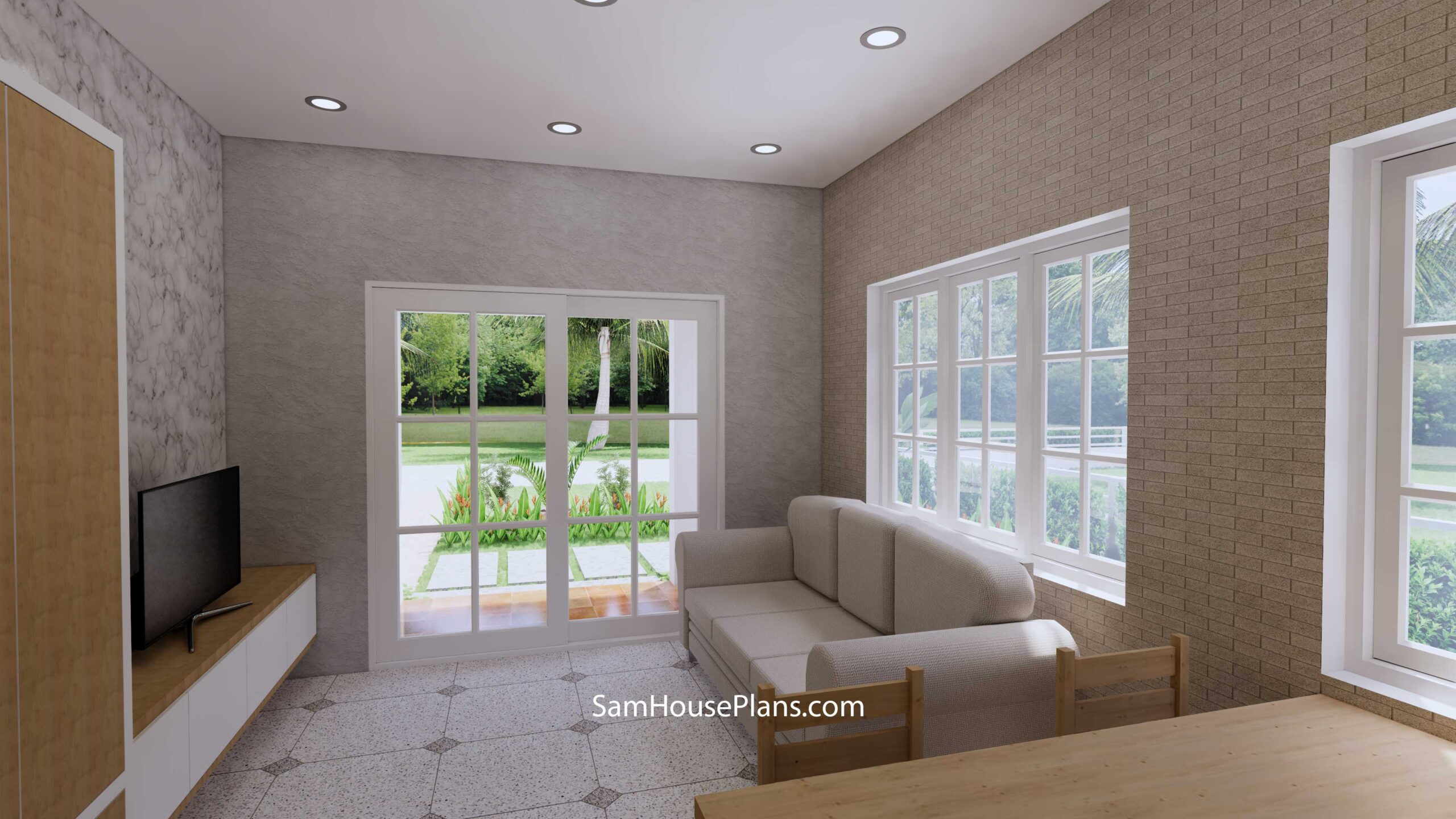 Small House Design 7x7 with 1 Bedrooms Flat Roof Living room 1